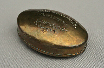 Antique Brass Miners Snuff Box - Tobacco Tin - Charles Welsh Porth East London