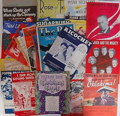 COLLECTION OF VINTAGE PICTORIAL SINGLE SHEET MUSIC-CHRISTMAS-MUSICALS-FILMS etc