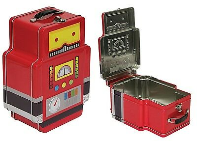 Fizz Creations Robot Lunch Box School Kids Food Storage Portable Carry Tin Metal