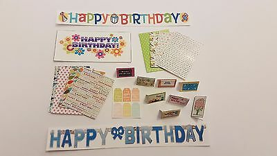 BIRTHDAY modern party accessories 1:12th scale dollshouse KIT cards banner wrap