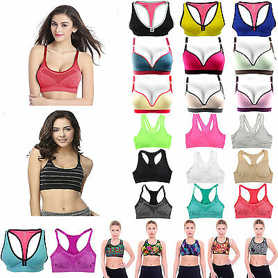 Womens Fitness Comfort Sports Bras Push up Stretchy Tank Athletic Tops shapewear