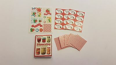 JAM MAKING accessories 1:12 scale dollshouse KIT preserves book, labels kitchen