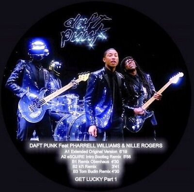 """12"""" PICTURE DISC DAFT PUNK Feat PHARREL WILLIAMS & NILLE ROGERS GET LUCKY Part 1"""