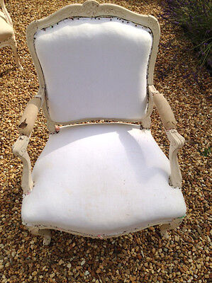 WONDERFUL FRENCH ANTIQUE LOUIS XV STYLE UPHOLSTERED ARMCHAIR c.1880s