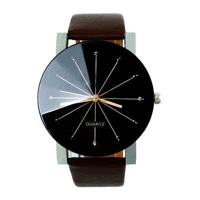Fashion Mens Casual Watch Stainless steel Leather Quartz Analog Sport Watches