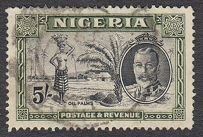 Nigeria KGV 1936 defs SG43 5/- Black & Olive-Green, fine used; scarce cat £60