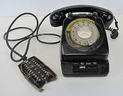 Vintage 1970's Black GPO Telephone With Planset N625 Table Mount
