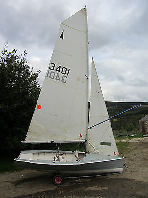 14ft Merlin Rocket Sailing Dinghy and Combi Trailer
