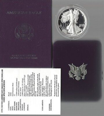 United States: American Eagle One Ounce Silver Proof (PP) Coin 1990