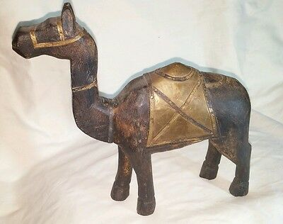 """Antique Hand Carved Brass Fitted WOODEN Camel Statue 10 1/2"""" Tall. Made in Egypt"""
