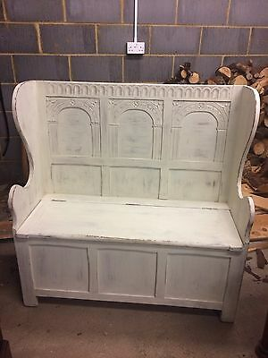 Victorian Painted Church Pew Storage Seat / Bench Decorative & Distressed