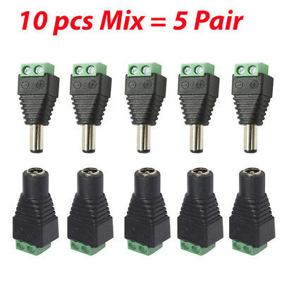 20x 12V Male Female 2.1x5.5mm DC Power Plug Jack Adapter Connector for CCTV XB