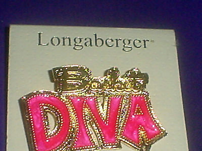 Gold Plated BASKET DIVA Pin Pink Epoxy New Longaberger Jewelry