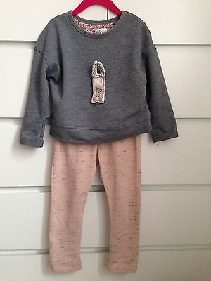 Next Girls 2 Piece Outfit 3-4 Years Jumper Top And Jogging Bottoms Bunny