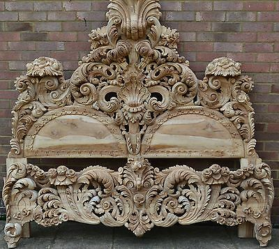 Hand Carved Headboard and foot-board, new. Beautiful carvings. Heavy. Teak .