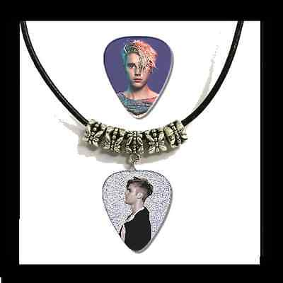 JUSTIN BIEBER Guitar Pick Necklace *Leather Style* + Bonus FREE Pick.