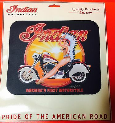 "INDIAN MOTORCYCLE MOUSE PAD ~ ""INDIAN  ON MC"" ~ 9 1/4"" x 7 3/4"" x 1/8"" ~ NEW"