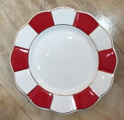 Grace's Teaware Salad Plates Set Of 4 NEW Red White Candy Stripe Scallop Edges