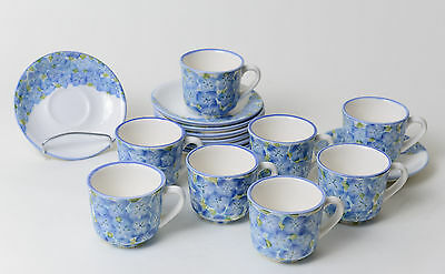 Carmen de Viboral Colombian Pottery Coffee Cups & Saucers Set - Hortensia
