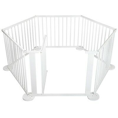 6 Panel Kids Baby Playpen Divider Toddler Wooden Safety Security Gate White