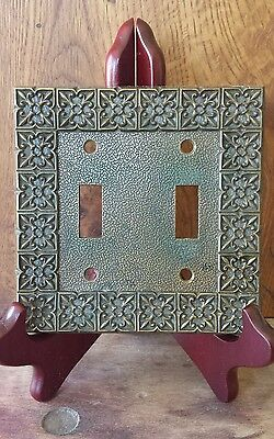 VTG National Lock Brass Tuscan Ornate Double Toggle Light Switch Plate Cover