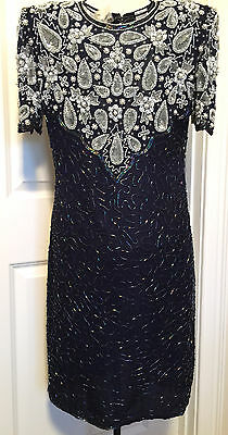 LAURENCE KAZUR BLUE SILK HAND BEADED COCKTAIL PARTY DRESS  - Size Medium  NWT