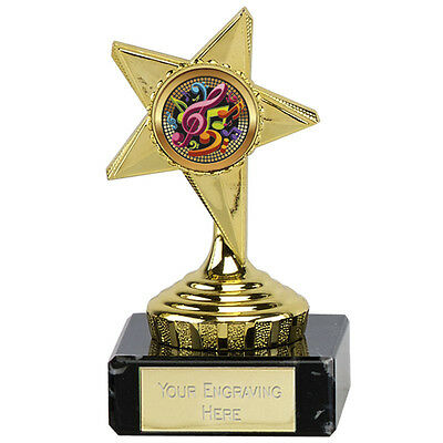 Cheap Budget Rising Star Award Gold Trophy 6.75inch Personalised FREE Engraving