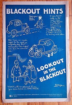 Original WW2 Poster by Philip Mendoza Cartoon/Comic - Look Out In The Blackout