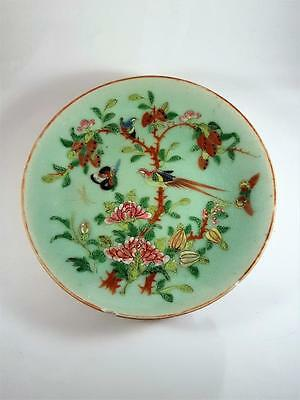 ANTIQUE 19th CENTURY CHINESE FAMILLE ROSE CELEDON GLAZE CANTON PLATE