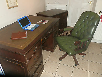 Antique Style matching Leather Top Desk with a separate double two drawer filing