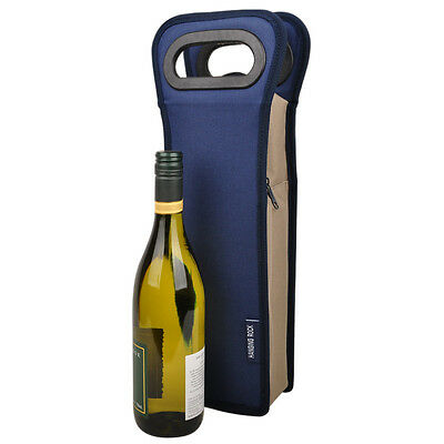 Travel Picnic Waterproof Insulated Single Wine Bottle Cooler Bag Carrier in Navy