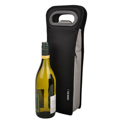 Waterproof Insulated Single Wine Bottle Cooler Travel Picnic Bag Carrier - Black