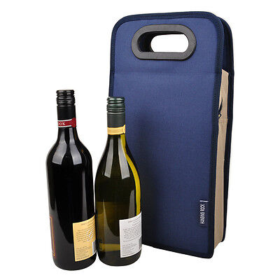 New Insulated Double 2 Wine Bottle Cooler Travel Picnic Bag Carrier Gift in Navy