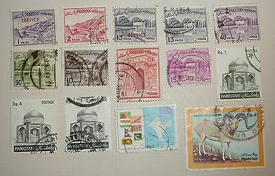 14 stamps of Pakistan 1961-1986. Used.