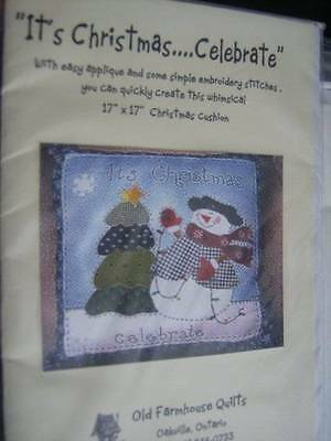 It's Christmas..Celebrate Pillow Applique Sewing Pattern-17x17 Inches-Old Farmho