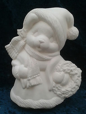 "Paint Your Own Ceramic Bisque - Mrs Santa Bear approx 8"" tall"