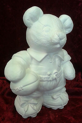 "Paint Your Own Ceramic Bisque - Rugby Bear Money Box - approx 10"" tall"
