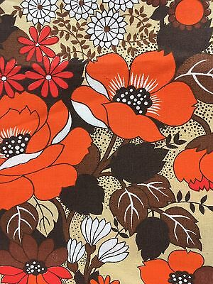 Vintage 1970s Retro Fabric Poppies Flowers 1.6mtrs