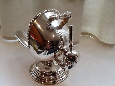 Superb Vintage Silver Plated Hand Engraved Sugar Scuttle And Scoop