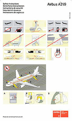Safety Card Swiss International Air Lines Airbus A319