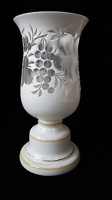 Bohemian Opaque White Overlay on Clear Glass Vase Intaglio Cut with Vines e20thC