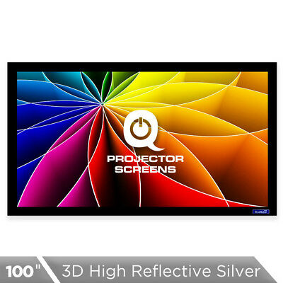 QualGear 100 Inch Fixed Frame Projector Screen, High Reflective Silver, 2.5 Gain