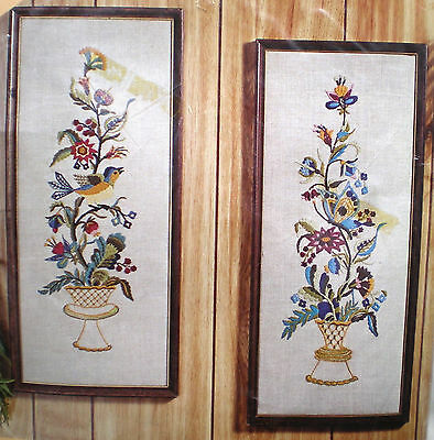 """Jacobean Inspired """"Birds and Butterflies Pictures"""" Crewel Embroidery Kit"""