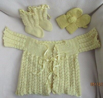 vintage handmade baby / doll sweater set yellow 3 pc