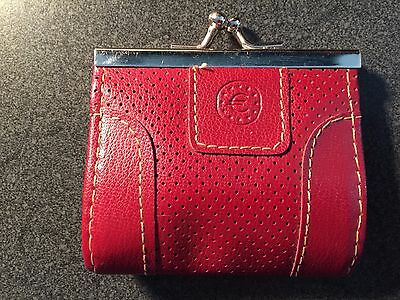 Red Leather KissLock Coin Purse