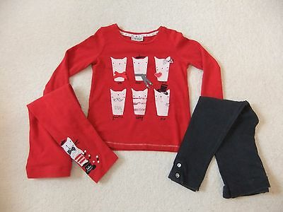 Next girls cats red top leggings 3-4-5 years Christmas