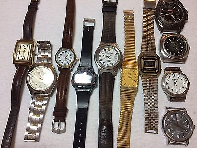 Vintage lot watches Seiko Caprice Timex Fossil Eddie Bauer Men's Quartz Watches