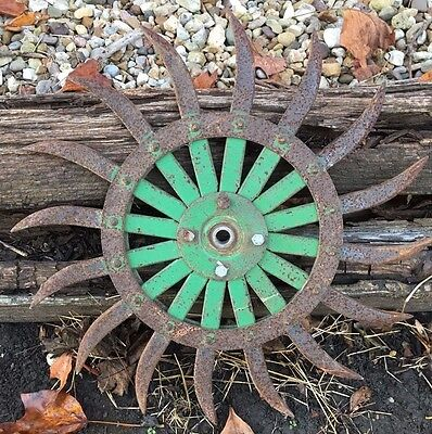 John Deere Rotary Cultivator Hoe Rotary Wheel Rustic Antique Industrial Lot of 5