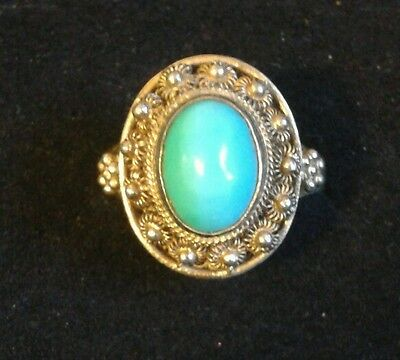 Vintage Chinese Gold Gilt Silver Turquoise Ring Adjustable Etruscan ~ Gift