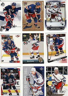 New York Rangers, 9 X Different Nhl Cards, Great Lot.